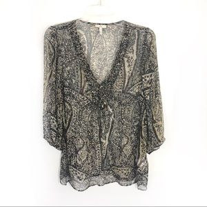Joie silk boho paisley sheer weave detail top D29